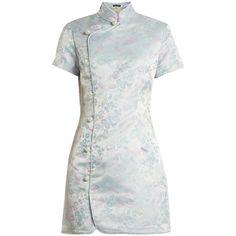 Alexachung Mandarin-collar jacquard satin dress ($289) ❤ liked on Polyvore featuring dresses, blue multi, short white dresses, blue flower dress, white mini dress, blue mini dress and short dresses
