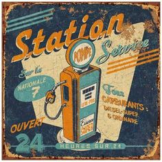 Retro Vintage Art Print: Station service by Bruno Pozzo : -