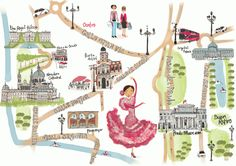 Madrid Illustrated Map by Naomi Skinner