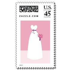 White Wedding Dress Stamps from http://www.zazzle.com/wedding+stamps