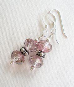 sterling silver crystal earrings 8mm Antique Pink briolette swarovski crystal on Etsy, $15.00