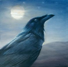 Night Raven Art Print From Original Oil by PaintedMoonGallery, $30.00  artist David Joaquin