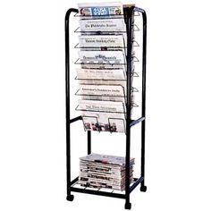 Multimedia and Book Displays including Slatwalls and Countertop Displayers Magazine Display, Magazine Rack, Newspaper Stand, Folding Furniture, Shop Ideas, Great Rooms, Multimedia, Firewood, Countertops