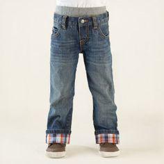 pull-on plaid denim pants