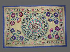 UZBEK Large Silk Hand Embroidered Suzani from Surkhandarya