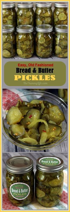 The Best Bread and Butter Pickles! Grandma's easy, old fashioned recipe that's suitable for refrigerator pickles or canning. Printable labels, too. Bread & Butter Pickles, Bread N Butter, Sweet Pickle Recipes, Homemade Bread And Butter Pickles Recipe, Homemade Butter, Canning Vegetables, Canning Pickles, Roh Vegan, Refrigerator Pickles