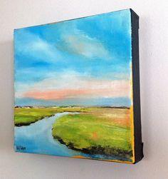 """Coastal landscape painting """"Summer Marsh"""" 8x8 oil on deep canvas. $165.00, via Etsy."""