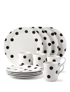 kate spade new york® all in good taste Deco Dot Dinnerware Set is part of Home Accessories Design Kate Spade Add a fun touch to your table setting with these deco dot dinnerware pieces Wit - Casual Dinnerware, White Dinnerware, Dinnerware Sets, Tabletop, Vase Deco, Kate Spade New York, Elegant Dinner Party, Stoneware Dinnerware, Plastic Dinnerware