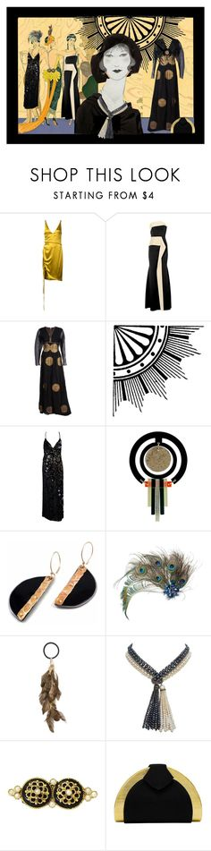 """""""BLACK GOLD FANCY"""" by melange-art ❤ liked on Polyvore featuring Galvan, Roland Mouret, Toolally, Rosantica, Marina J. and Rodo"""