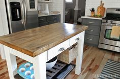 DIY Kitchen Island {from new unfinished furniture to antique!}