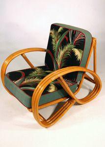 3 Strand 3/4 Pretzel Rattan Lounge Chair with Barkcloth Cushions