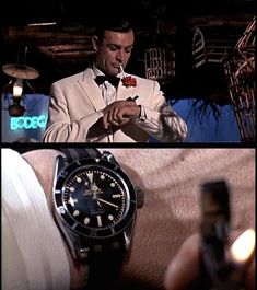 Sean Connery as James Bond in Goldfinger seen with his Rolex & NATO strap