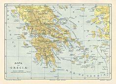 1914 Map of Greece in Spanish from the Diccionario Enciclopedico Hispano-Americano de Literatura, Ciencia, Artes. Etc. One of a set of 6 maps. ($9 for 6 maps) Available at www.uncannyartist.com/