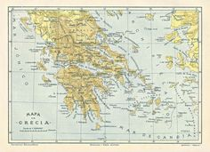 1914 Map of Greece in Spanish from the Diccionario Enciclopedico Hispano-Americano de Literatura, Ciencia, Artes. Etc. One of a set of 6 maps. ($9 for 6 maps) Available at www.uncannyartist.com/