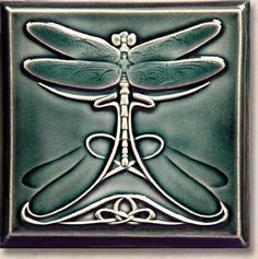 Dragonfly Nouveau One Ceramic Tile Art, Art Tiles, Porcelain Tiles, Art Nouveau Tiles, Art Nouveau Design, Dragonfly Decor, Rustic Bathroom Designs, Arts And Crafts Movement, Fine Art