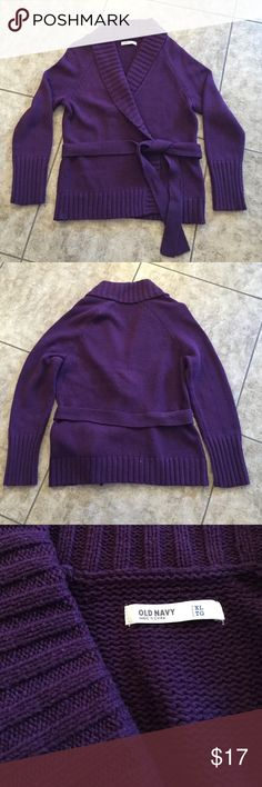 Old Navy Eggplant belted wrap sweater Get ready for fall with this comfy sweater. Only worn once. (We don't need sweaters very often in Arizona 🌵) Old Navy Sweaters