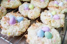I've been making these Easter Bird's Nest Cookies every year for as long as I can remember and they are always a hit! Baked mini eggs are so good! Egg Nest, Mini Eggs, Cookies Ingredients, Macaroons, Holiday Recipes, Easter, Yoga, Dance, Baking