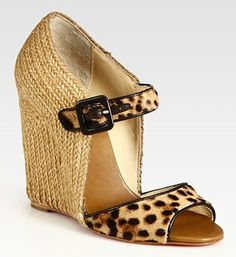 $194  Christian Louboutin Leopard-Print Pony Hair And Leather Wedge Sandals