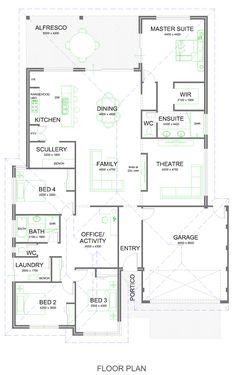 Home Design Diy, Home Design Floor Plans, Plan Design, House Design, Dream House Plans, Modern House Plans, House Floor Plans, Storey Homes, House Layouts