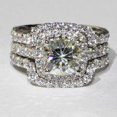 14K White Gold Over Cushion Cut Wedding Diamond Engagement 3Pcs Bridal Ring Set  #aonedesign #EngagementWeddingAnniversaryPromise