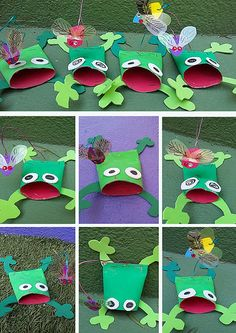 Paper roll croaking frogs crafts for the cuties поделки, дет Frog Crafts, Preschool Projects, Daycare Crafts, Paper Crafts For Kids, Toilet Paper Roll Art, Rolled Paper Art, Frog Activities, Frog Art, Animal Crafts