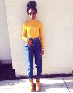 A lot of people opt for turtlenecks in basic colors, like black or gray, but there's no reason you can't stand out. Pick a bright turtleneck sweater, like this yellow one, for a real statement piece. Tomboy Fashion, Black Girl Fashion, Fashion Killa, Look Fashion, Urban Fashion, 90s Fashion, Fashion Outfits, Fashion Ideas, Rave Shirts