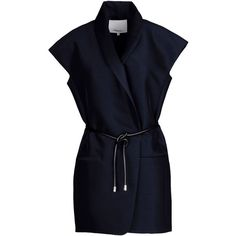 3.1 Phillip Lim Blazer (4 785 ZAR) ❤ liked on Polyvore featuring outerwear, jackets, blazers, coats, tops, dark blue, dark blue jacket, no sleeve jacket, 3.1 phillip lim and lapel jacket