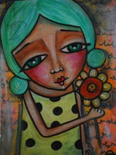 Mixed Media Original Whimsy Wonders may you bloom by bfree2create, $65.00