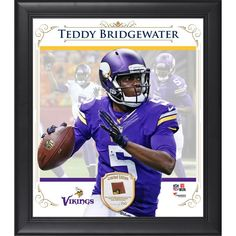 """Teddy Bridgewater Minnesota Vikings Fanatics Authentic Framed 15"""" x 17"""" Composite Collage with Piece of Game-Used Football-Limited Edition of 250"""
