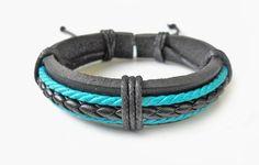 Jewelry bangle leather bracelet ropes Bracelet women bracelet girl bracelet men bracelet made of leather and ropes SH-0235. $3.00, via Etsy.