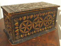 Small tole painted and carved document box, sold in auction for $11,000