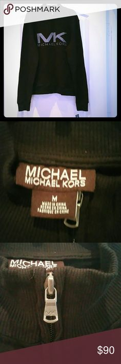 Black Michael Kors Sweater Black and Gray/Silver Lettering unisex Authentic Michael Kors Full Zip Sweater has 2 full front pockets   No trades, No Pp, No otber Apps  Perfect Holiday Gift Michael Kors Sweaters
