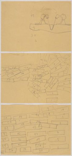 Joseph Beuys, Three Part Drawing for the 'The End of the Twentieth Century', 1983