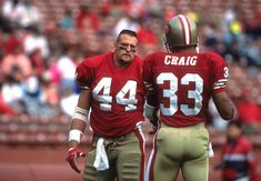 Tom Rathman and Roger Craig former Huskers 49ers Players, Nfl Football Players, Football Helmets, Forty Niners, Sf Niners, 49ers Nation, Best Running Backs, San Francisco Football, Bay Sports