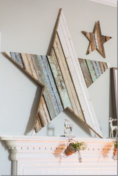 How to DIY a Giant Wooden Star for the Mantel. Step-by-Step instructions for making this pretty focal point.