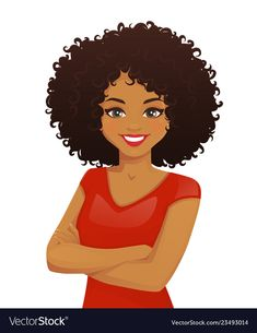 Buy Woman Portrait by Volhah on GraphicRiver. Portrait of smiling woman with arms crossed and afro hairstyle isolated vector illustration Black Girl Art, Black Women Art, Black Art, Black Girl Magic, Art Girl, Female Portrait, Female Art, Woman Portrait, Free Vector Images