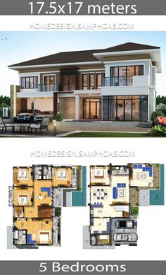 Architecture House Floor Plans House Plans idea with 5 bedrooms - Home Ideassearch Modern Architecture House, Architecture Plan, Residential Architecture, 5 Bedroom House Plans, House Plans Mansion, Modern House Floor Plans, Home Design Floor Plans, 2 Storey House Design, Modern House Design