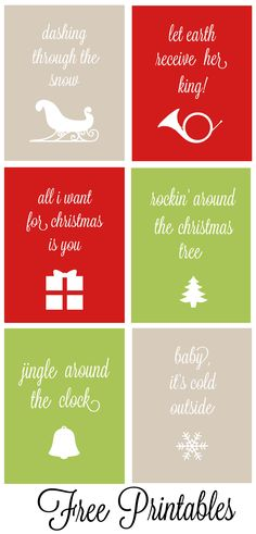 Set of 6 Christmas Carol Free Printables!  Beautifully designed and available in 2 different font types!