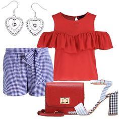 Un outfit romantico moderno, grazioso ed estivo: shorts in fantasia vicky  blu e bianco, vita alta, con cintura da annodare in vita, abbinato a  camicetta ...