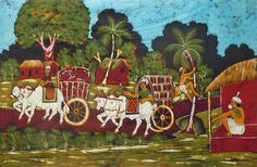 Indian Village Scene (Batik Painting on Cotton Cloth - Unframed)