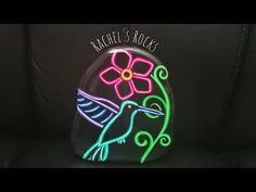 Neon Hummingbird - YouTube Painted Rocks, Hand Painted, Stone Painting, Hummingbird, My Etsy Shop, Butterfly, Neon, Artwork, Canada
