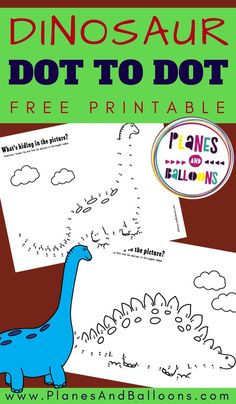 Free dot to dot printables for kids - preschool number worksheets. Dinosaur Worksheets, Dinosaur Theme Preschool, Preschool Number Worksheets, Dinosaur Printables, Dinosaur Activities, Numbers Preschool, Free Printable Worksheets, Free Preschool, Preschool Printables