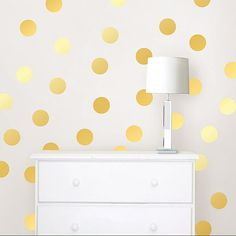 Make a stylish décor statement with Gold Foil Confetti Dots. Create a beautiful feature wall or decorate for your next party with these fun polka dot decals!