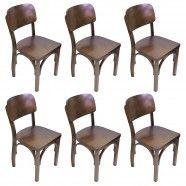 Kit  6 Cadeiras de Madeira Boteco Antigo Modelo Estilo Escolar
