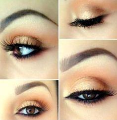 Golden peach eye makeup