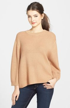 Women's MICHAEL Michael Kors Drop Shoulder Crewneck Sweater, Size Small - Beige Sun Tan Small