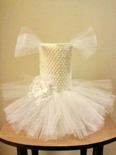 White tutu dress with tulle sleeves.  By Me