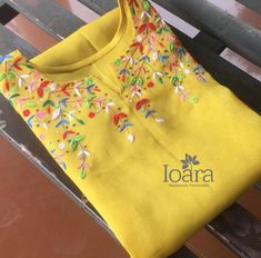 WhatsApp 9035330901 for customized hand embroidery material Embroidery On Kurtis, Hand Embroidery Dress, Kurti Embroidery Design, Embroidery On Clothes, Flower Embroidery Designs, Embroidered Clothes, Embroidery Fashion, Churidar Designs, Kurti Neck Designs