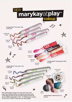 all NEW Mary Kay at Play line!!!  Coming in August!! Pre-order today!!  Hot fun new colors geared to teens, wanted by all!!  $10 price point is so affordable! order NOW!!