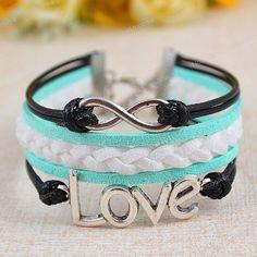 On Sale Bracelet Infinty Bracelet Love Bracelet Mint by Ucoolka, $6.99